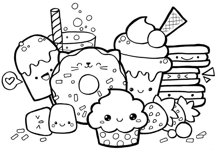 Disegni belli e facili, disegno di cibo con faccine, schizzi da colorare per bambini