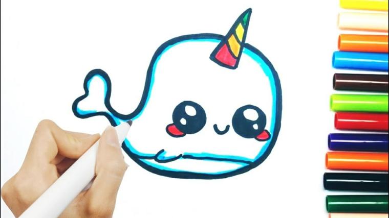 Disegni facili da copiare, disegno di un delfino con corno, disegno da colorare con pennarelli