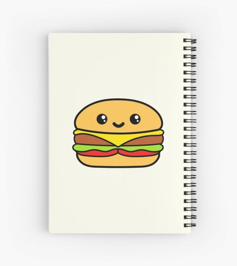 Quaderno ad anelli per disegno, disegni facili da fare, hamburger kawaii con faccina