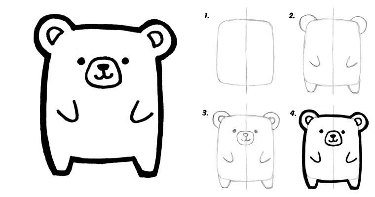 Disegni kawaii, disegno di un orsetto, tutorial disegno a matita