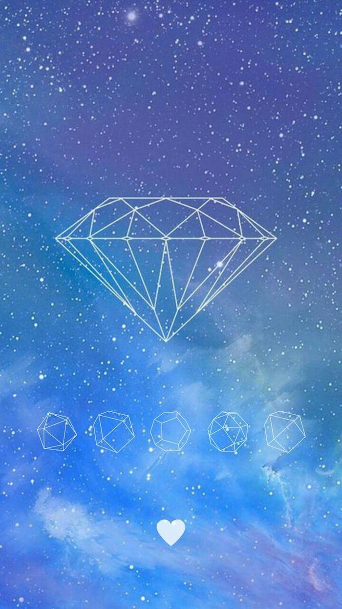 Effetti foto stile tumblr, sfondo colore azzurro, disegno di un diamante