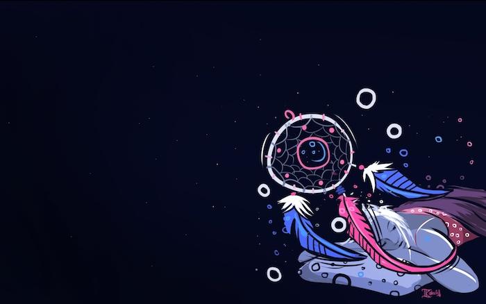 Disegno grafico di un acchiappasogni, sfondo foto colore nero, sfondi cellulare tumblr