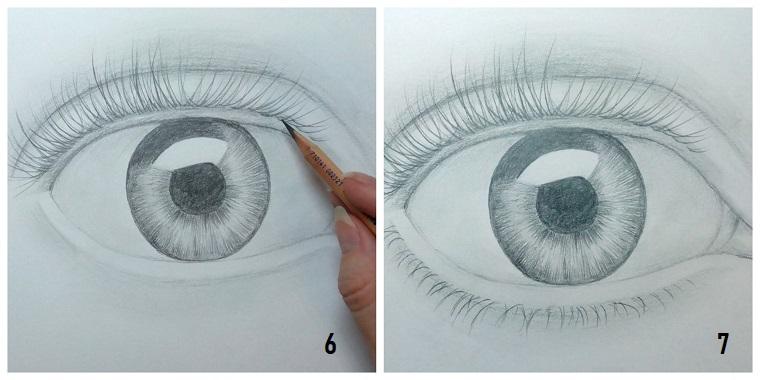 Disegni tridimensionali, abbozzo di un occhio, oscurare con la matita