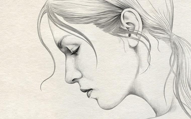 Disegni a matita facili, disegno di una donna, disegnare con la matita