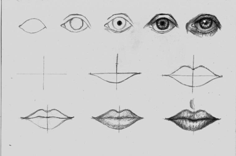Passaggi per disegnare, disegni a matita facili, abbozzo di un occhio, abbozzo di labbra