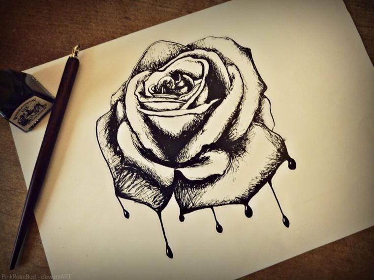 Penna con inchiostro, disegno su foglio bianco, come disegnare una rosa