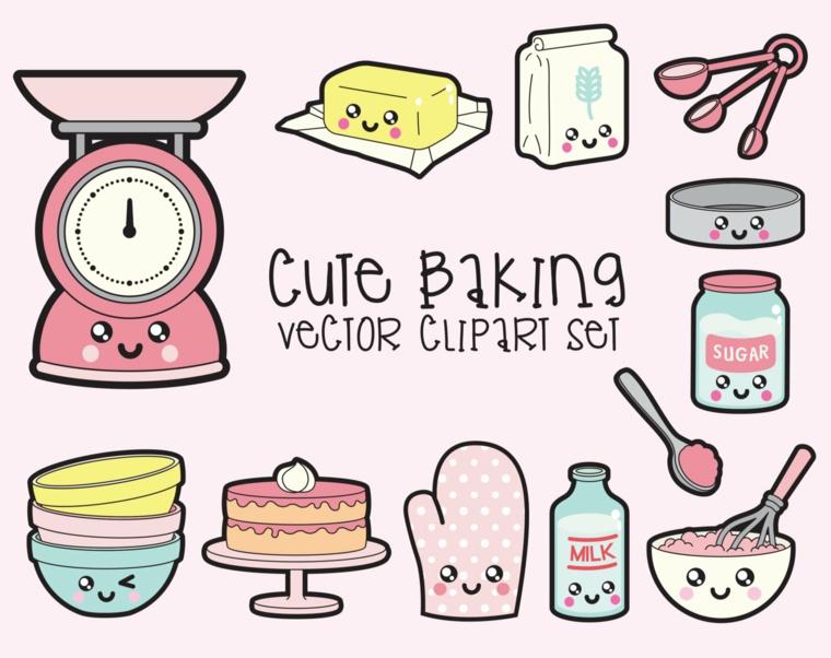 Immagini da disegnare facili, disegno di attrezzi da cucina, ingredienti con faccine