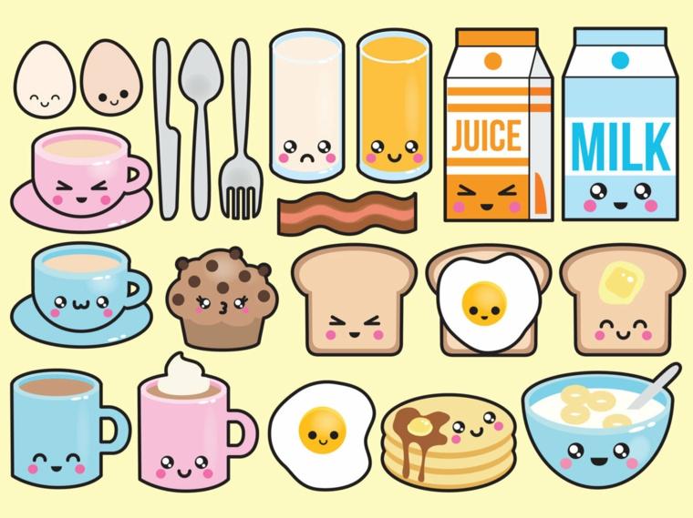 Disegni belli e facili, disegni di cibo con faccine, schizzi colorati di cibo
