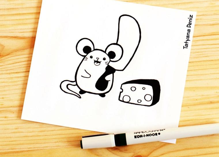 Immagini da disegnare facili, disegno di un topo, topo con formaggio, disegno da colorare