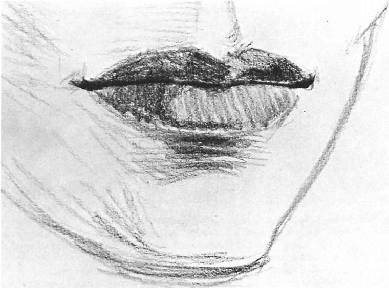 Disegno di una bocca, bocca con labbra, oscurare con chiaro scuro a matita