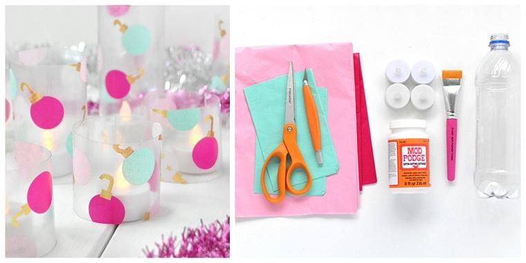 Segnaposti fai da te natale, lanterne con palline natalizie, materiale necessario