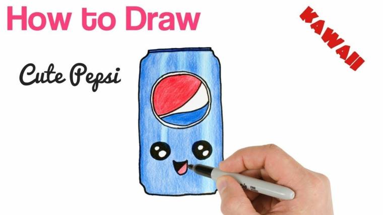 Disegni facili da disegnare, disegno di una lattina con faccina, colorare con pennarelli