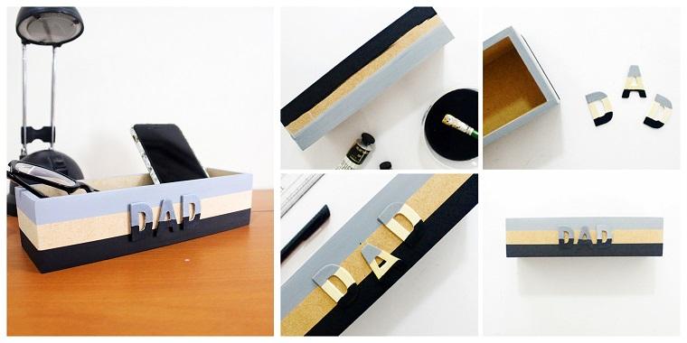 Scatola di legno, regali per la festa del papà fatti a mano, accessori da scrivania