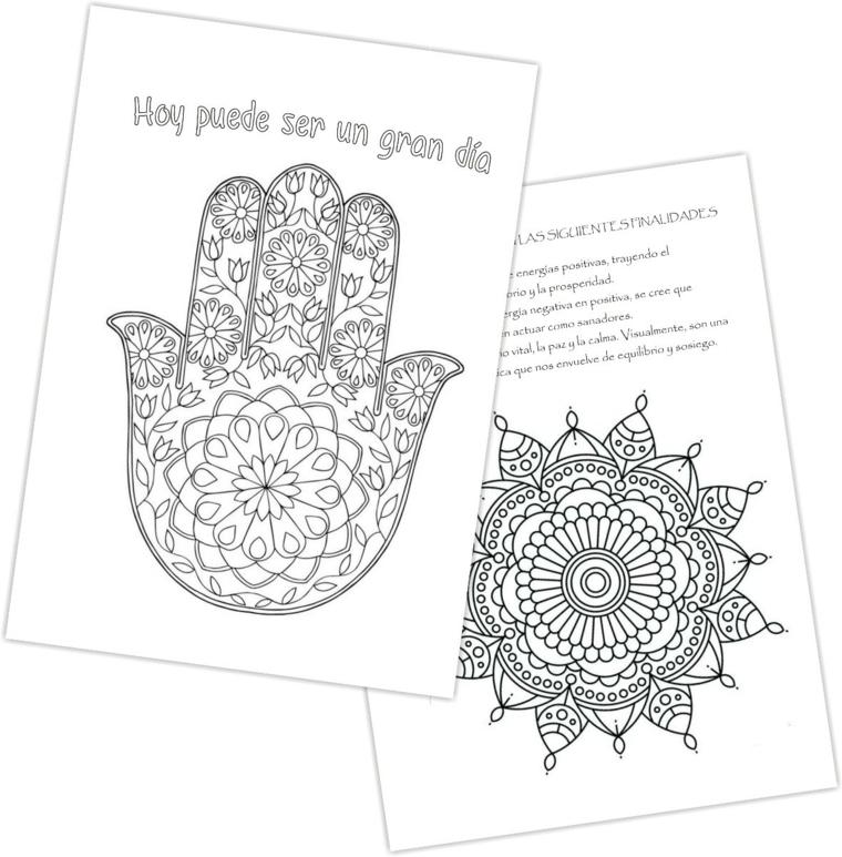 Disegni geometrici da colorare, mandala con fiori