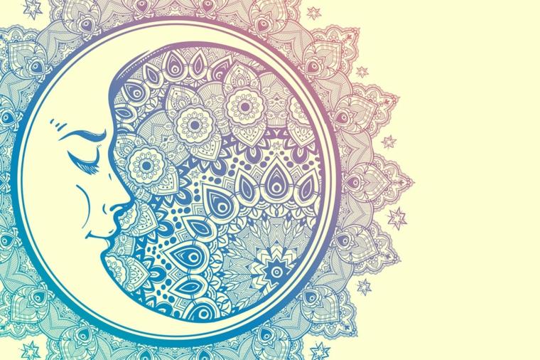 Disegno di una mezza luna, disegni di mandala, schizzi da colorare