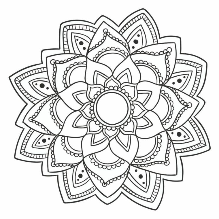 Disegni difficili da colorare, motivi mandala da dipingere, disegni di petali di fiore
