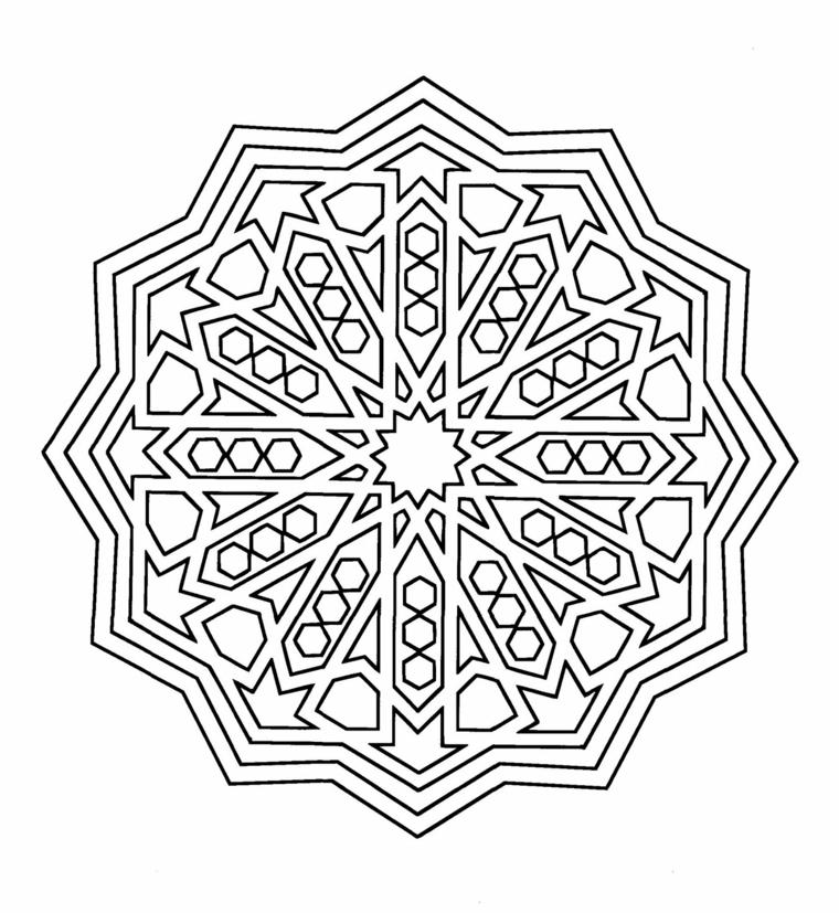 Disegni geometrici da colorare, triangoli e frecce