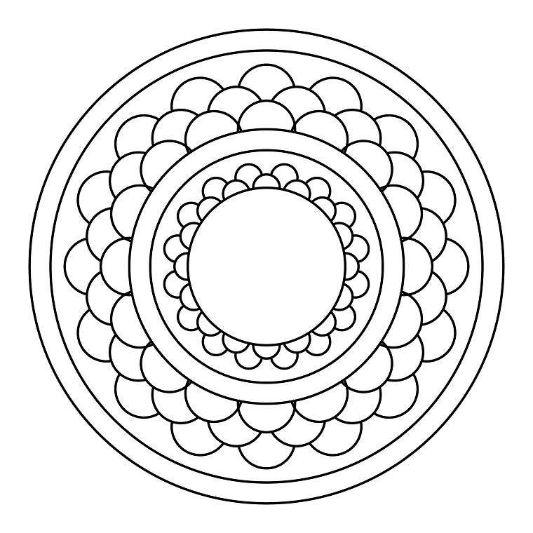 Disegni da colorare antistress, disegno di un mandala, ruote e semicerchi