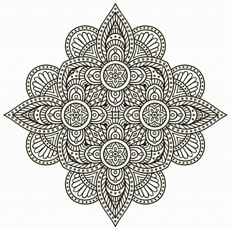 Disegno mandala difficile, cerchi con fiori, semicerchi con puntini