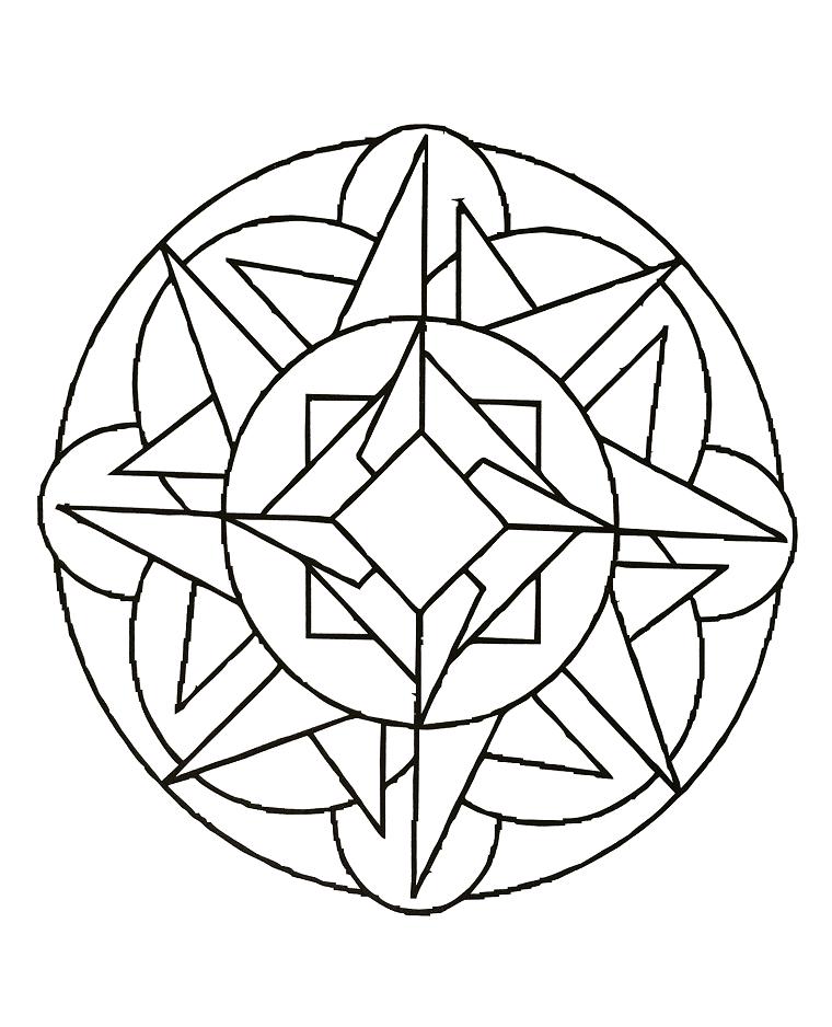 Forme geometriche da colorare, cerchio con triangoli, disegno da colorare