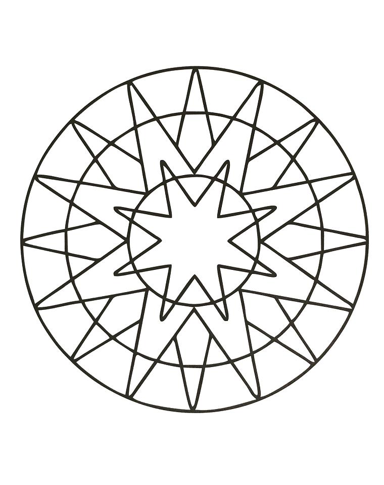 Cerchio con stelle, disegno geometrico, raffigurazione da colorare
