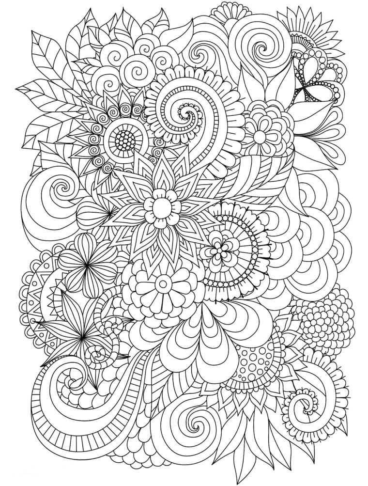 Disegni di spirale, fiori da colorare, mandala da colorare