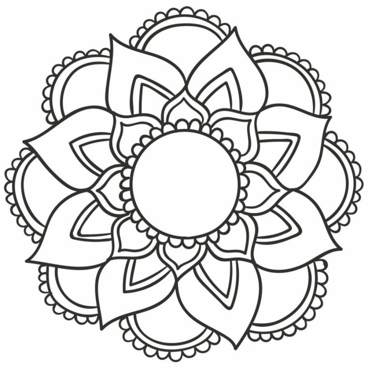 Come disegnare un mandala, disegno con motivi floreale, disegno mandalico da colorare