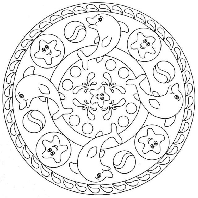 Disegno da colorare per bambini, tipi di mandala, disegni di delfini