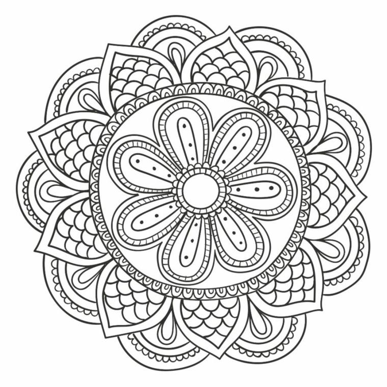 Mandala da colorare, cerchio con fiore, ornamenti con semicerchi