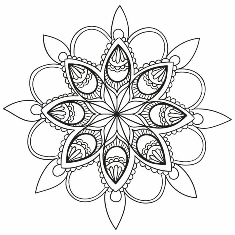 Mandala con ornamenti, disegni di semicerchi, disegni difficili da colorare