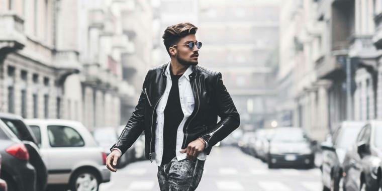 Taglio rasato uomo, acconciatura maschile capelli mossi, giacca di pelle nera