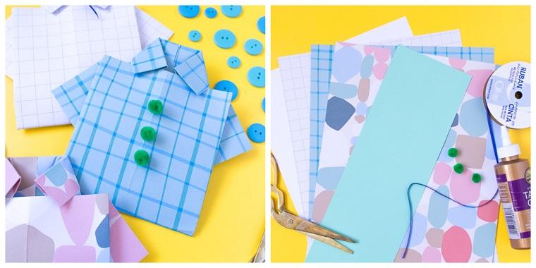 Disegno camicia con bottoni, lavoretto per bambini, fogli di carta colorati