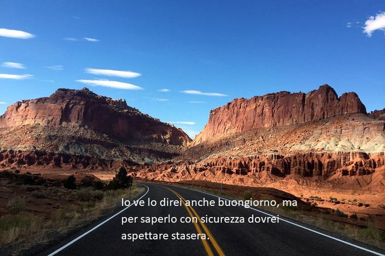 Buongiorno frasi e immagini, strada con montagne, foto con frase