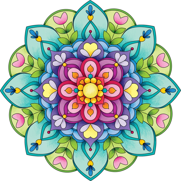 Disegni difficili da colorare, mandala colorato, motivi floreali e cerchi