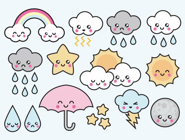 Disegni facili da fare, disegno di nuvole e stelle, schizzi colorati kawaii