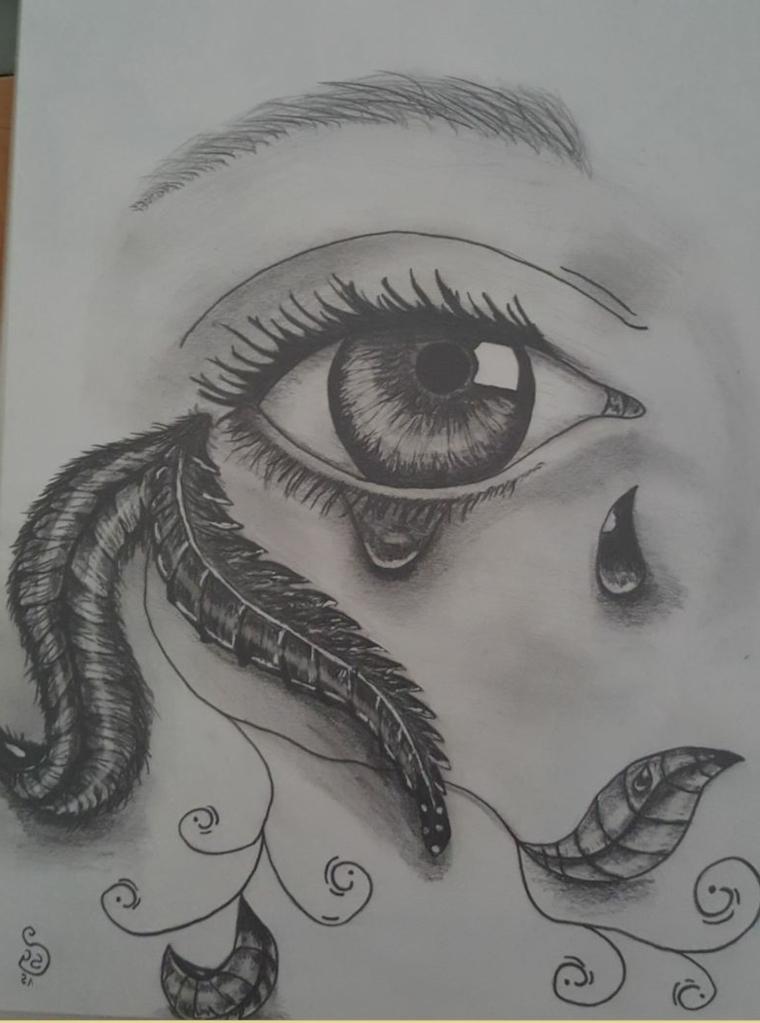 Disegnare con matita, schizzo di un occhio, lacrima sul viso