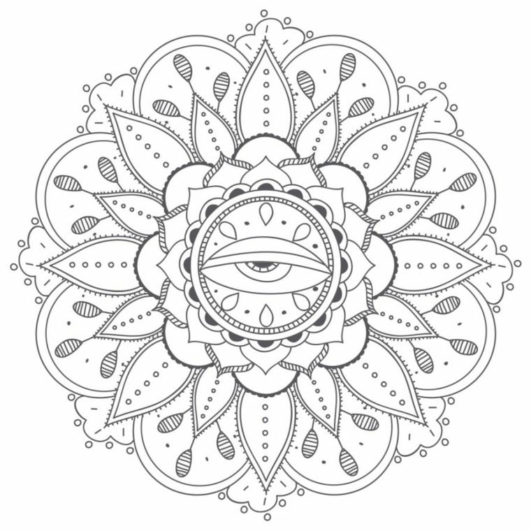 Mandala significato simbologia, disegno di un occhio, motivi con puntini