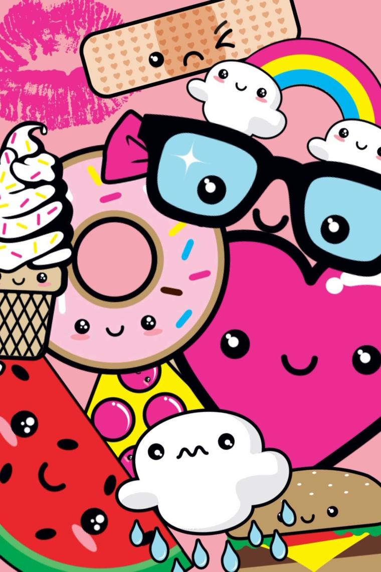 Immagini kawaii, schizzi colorati con faccine, disegni per bambini con ciambelle e frutta