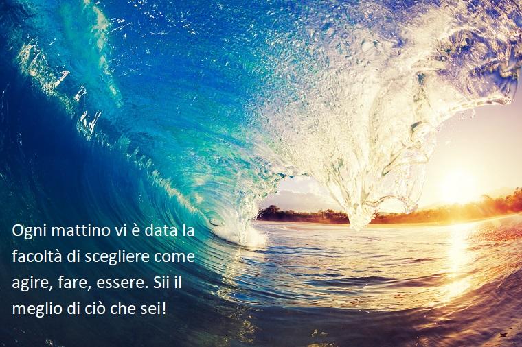 Buongiorno frasi e immagini, onda del mare, foto con frase