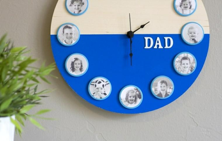 Orologio di legno, fotografie famiglia in bianco e nero