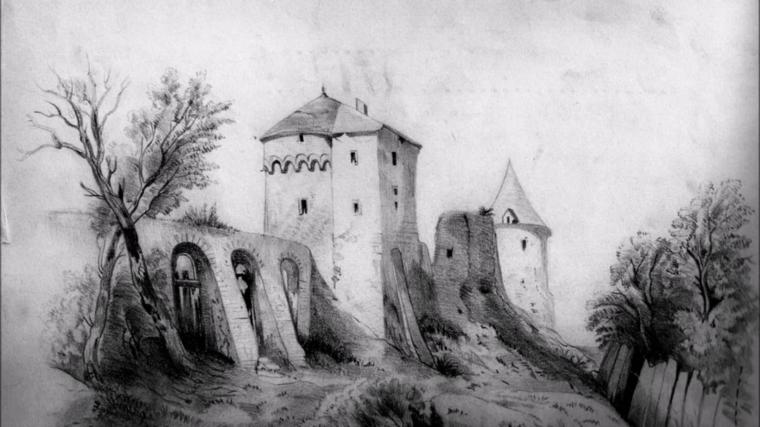 Un castello disegnato, immagine bianco e nera, oscurare con matita