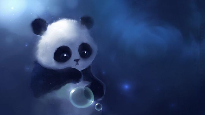 Disegno grafico di una panda, macchie di colore blu