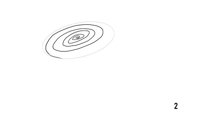 Cerchio a spirale, disegno a matita, rose disegnate