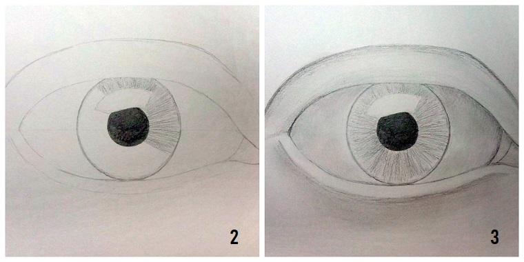 Immagini da ricopiare, disegno di un occhio, dipingere con la matita