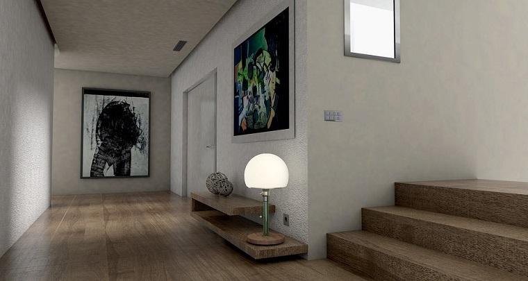 Pavimento vinilico, corridoio con scale, decorazioni con quadri