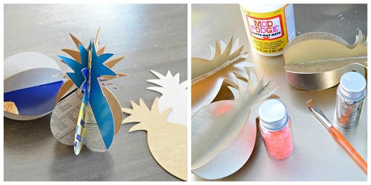 Addobbi natalizi fatti a mano, segnaposto con cartoncini, decorazione con glitter