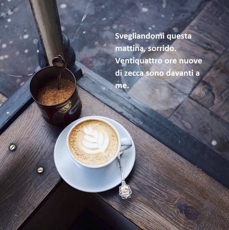 Immagini con frasi significative, tazza di cappuccino, barattolo con zucchero di canna