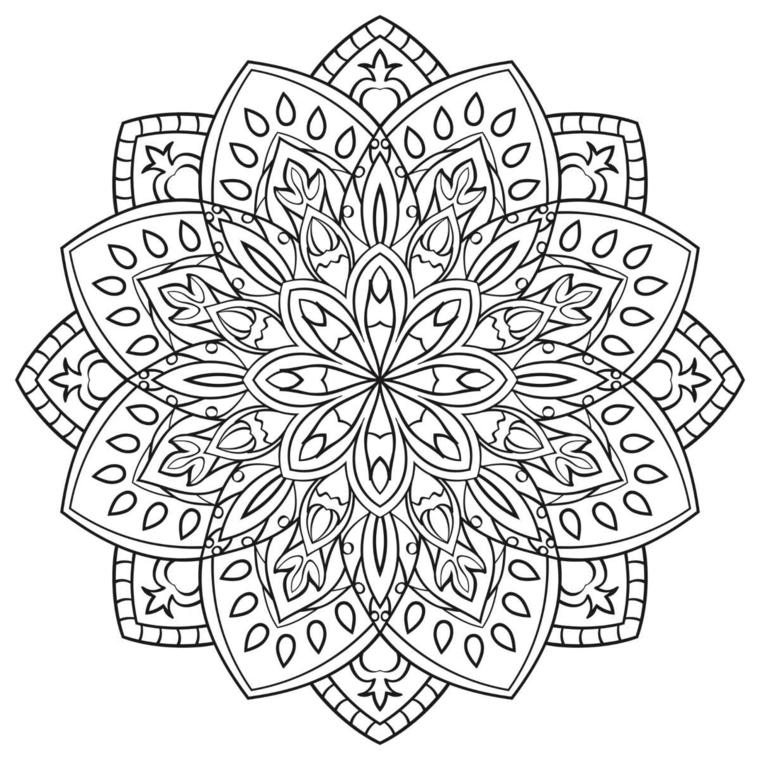 Come disegnare un mandala, disegno con ornamenti, fiore nel fiore