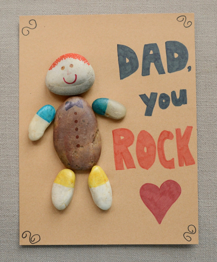 Disegno per il papà, piccole pietre dipinte, regalo per il papà