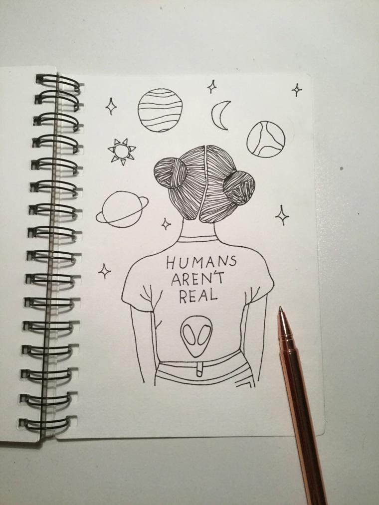 Quaderno ad anelli, disegno di una ragazza, sistema solare disegnato